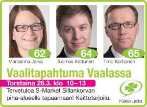 Keskusta KAI vaalitilaisuus Vaalassa 26032015 Tervareitti 82x60m